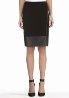Faux Wrap Pencil Skirt with Zip Front
