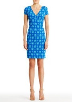 Faux Wrap Sheath Dress with Cap Sleeves (Petite)
