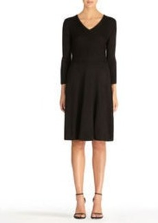 Fit and Flare Dress with 3/4 Sleeves