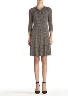 Fit and Flare Dress with Cowl Neck