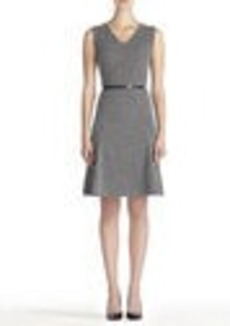 Fit and Flare Dress with V-Neck and Belt