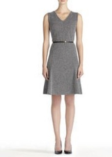 Fit and Flare Dress with V-Neck and Belt (Plus)