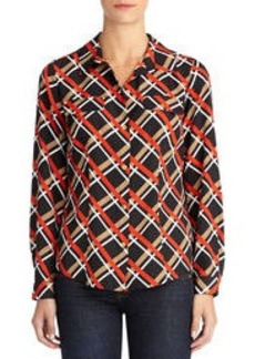 Fitted Button-Front Blouse with Faux Pockets (Plus)