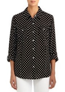 Fitted Polka Dot Shirt with Roll Sleeves