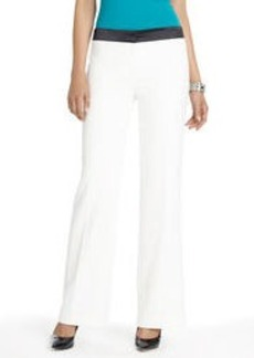 Flat Front Pants with Satin Waistband