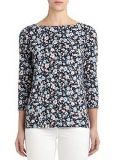 Floral Boat Neck Pullover with 3/4 Sleeves (Petite)