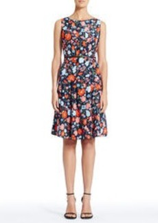 Floral Fit and Flare Dress with Belt