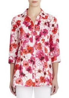 Floral Print Linen Y-Neck Shirt