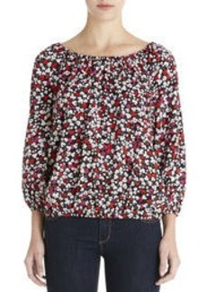 Floral Print Peasant Blouse with Banded Waist (Plus)