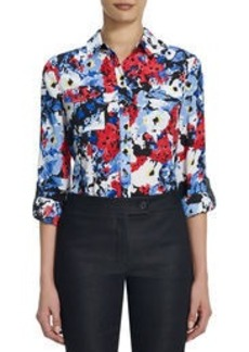 Floral Safari Blouse with Roll Sleeves (Plus)