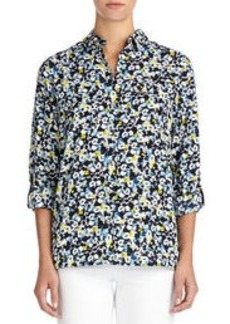 Floral Safari Shirt with Roll Sleeves