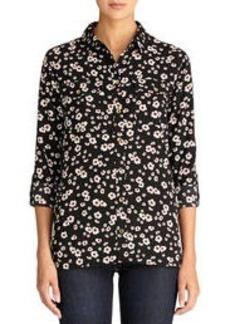 Floral Safari Shirt with Roll Tab Sleeves