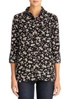 Floral Safari Shirt with Roll Tab Sleeves (Plus)
