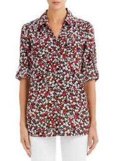 Floral Shirt with Patch Pockets and Roll Sleeves