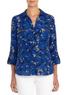 Floral Shirt with Zip Pockets and Roll Sleeves (Plus)