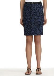 Floral Stretch Cotton Denim Pencil Skirt