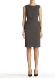 Heather Gray Sheath Dress with Buckle Front