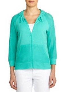 Hooded Cotton Zip-Front Jacket