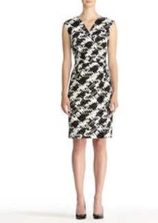 Houndstooth Sheath Dress with Cap Sleeves