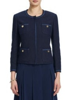 Jacket with Four Pockets and Grosgrain Detail