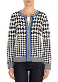Jacquard-Woven Cardigan with Zip Front