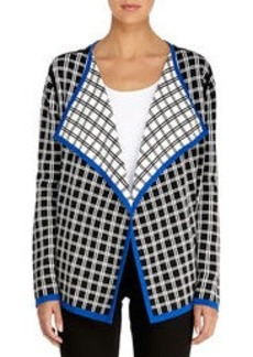 Jacquard Woven Open Front Cardigan (Plus)