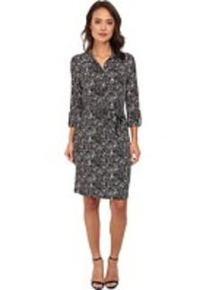 Jones New York 3/4 Sleeve Button Front Shirt Dress