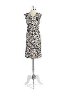 JONES NEW YORK Animal Print Belted Dress