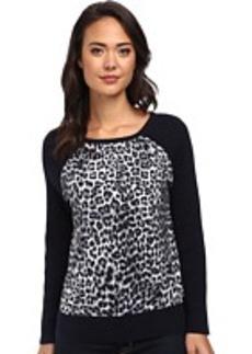 Jones New York Animal Print Sleeve Pullover