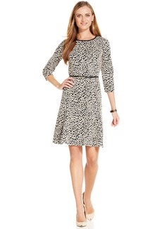 Jones New York Animal-Printed Belted Fit & Flare Dress