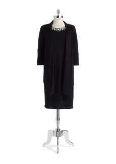 JONES NEW YORK Bead Accented Dress with Attached Cardigan