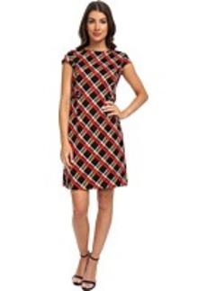 Jones New York Cap Sleeve Button Detail Ponte Dress