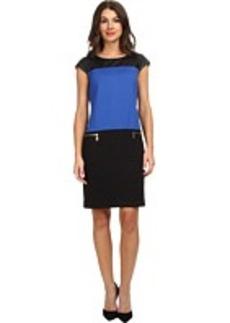 Jones New York Cap Sleeve Color Blocked Dress