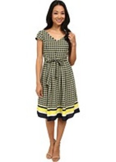 Jones New York Cap Sleeve Pleat Dress w/ Self Belt