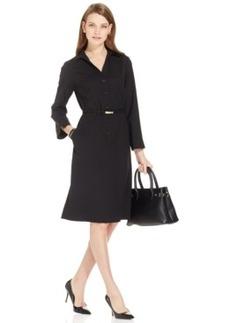 Jones New York Collection Button-Front Belted Shirt Dress