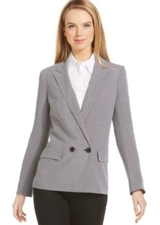 Jones New York Collection Chevron-Stripe Double-Breasted Blazer