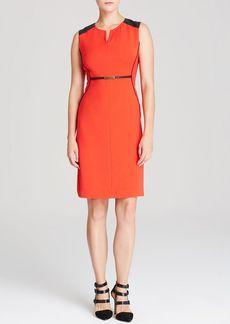 Jones New York Collection Faux Leather Trim Dress