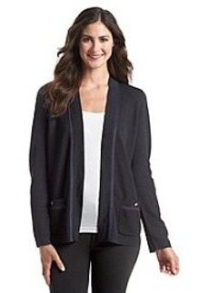 Jones New York Collection® Faux Suede Trimmed Cardigan