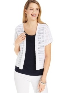 Jones New York Collection Open-Knit Short-Sleeve Cardigan