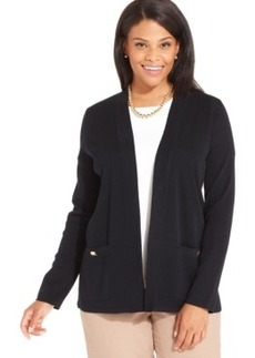 Jones New York Collection Plus Size Long-Sleeve Open-Front Cardigan