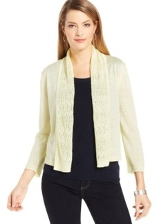 Jones New York Collection Petite Cropped Pointelle-Trim Cardigan