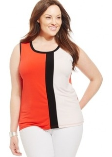 Jones New York Collection Plus Size Colorblocked Shell