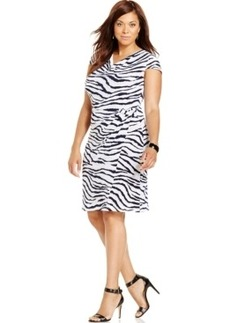 Jones New York Collection Plus Size Cowl-Neck Printed Gathered Dress