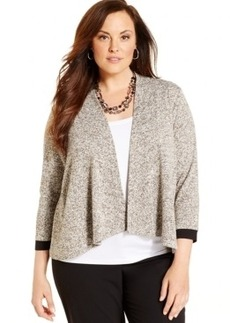 Jones New York Collection Plus Size Draped Open-Front Cardigan
