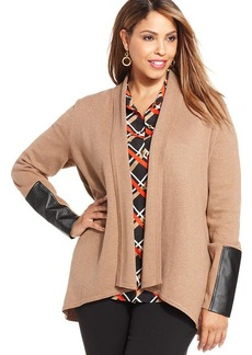 Jones New York Collection Plus Size Faux-Leather-Trim Cardigan