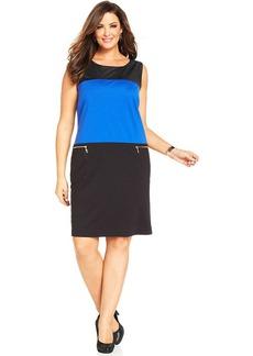 Jones New York Collection Plus Size Faux-Leather-Trim Colorblocked Dress