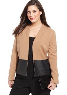 Jones New York Collection Plus Size Faux-Leather-Trim Jacket