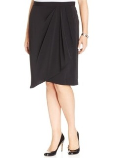 Jones New York Collection Plus Size Faux-Wrap Skirt