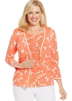Jones New York Collection Plus Size Floral-Print Cardigan