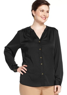 Jones New York Collection Plus Size Houndstooth-Print Blouse